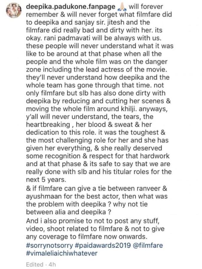 Deepika replies to Angry Fans for Not Winning Filmfare Award