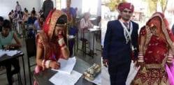 ભારતીય સ્ત્રી તેના લગ્નના દિવસે અંતિમ પરીક્ષા લે છે