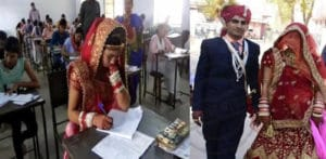 Indian Bride takes Final Exam on her Wedding Day f