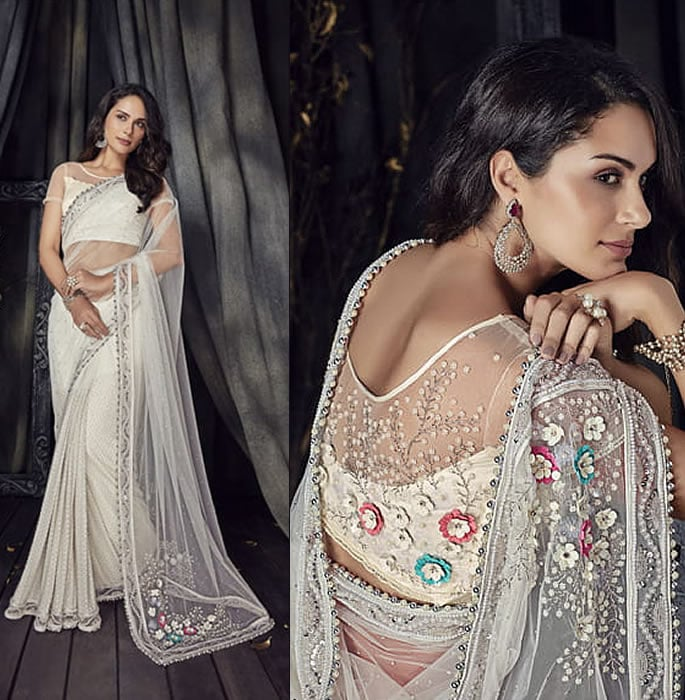 Stylish and Beautiful Crystal Sarees for Any Occasion - Cream