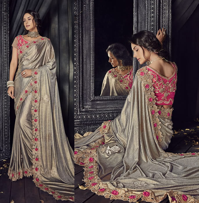 Stylish and Beautiful Crystal Sarees for Any Occasion - beige