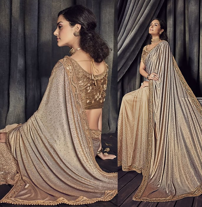 Stylish and Beautiful Crystal Sarees for Any Occasion - golden brown