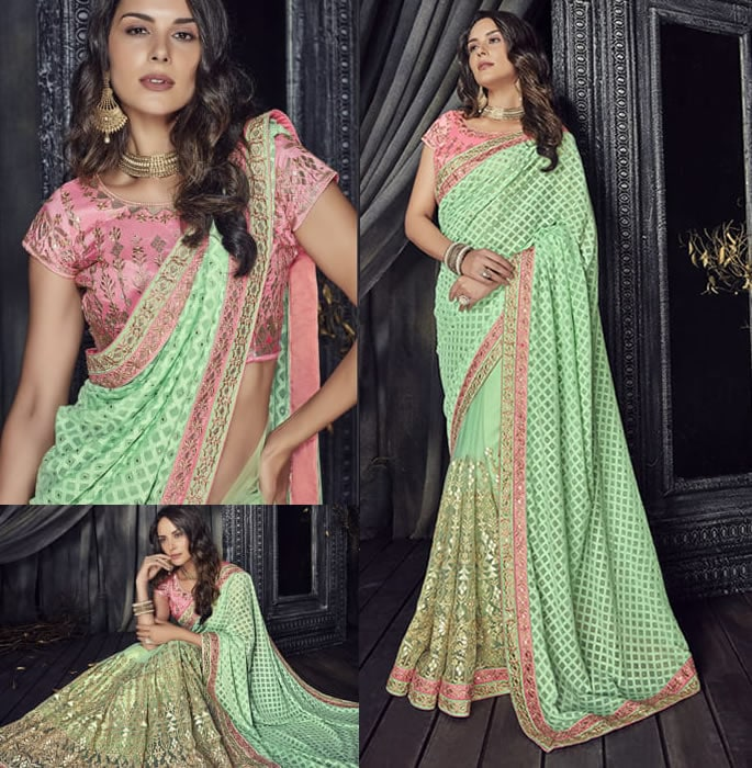 Stylish and Beautiful Crystal Sarees for Any Occasion - green pink