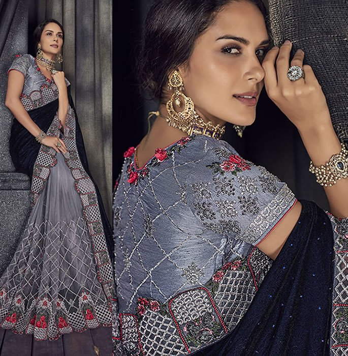 Stylish and Beautiful Crystal Sarees for Any Occasion - grey