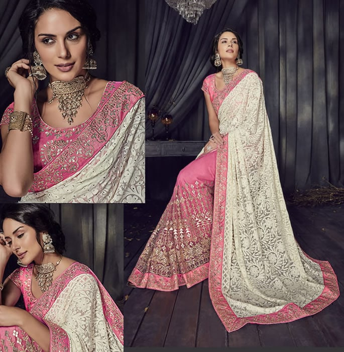 Stylish and Beautiful Crystal Sarees for Any Occasion - pink ivory 2