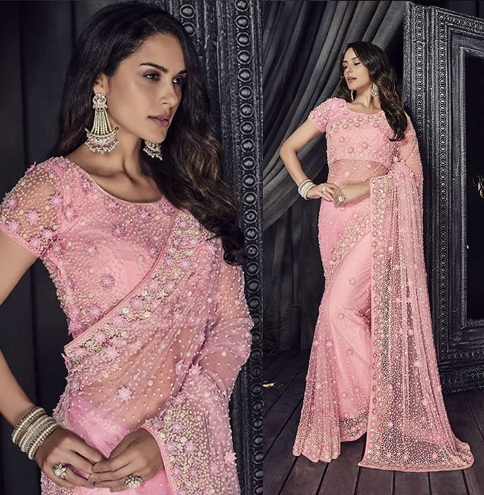 Stylish and Beautiful Crystal Sarees for Any Occasion - pink