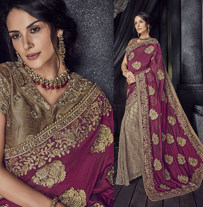 Stylish and Beautiful Crystal Sarees for Any Occasion - purple