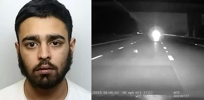 Hassan Waseem drove Wrong Way on M56 missing Police Car ft
