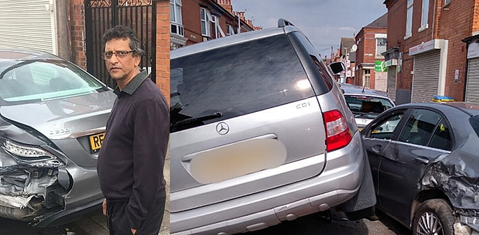 Man wakes up to Find Car Crashed on Top of His Mercedes f