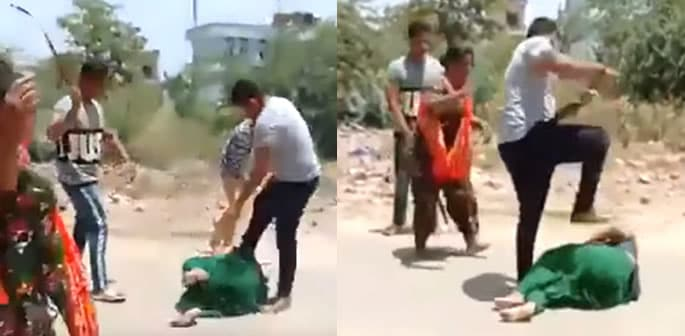 Indian Woman thrashed by Men over Money Lending Issue f