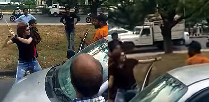Indian Woman with Road Rage beats Driver with Iron Rod f