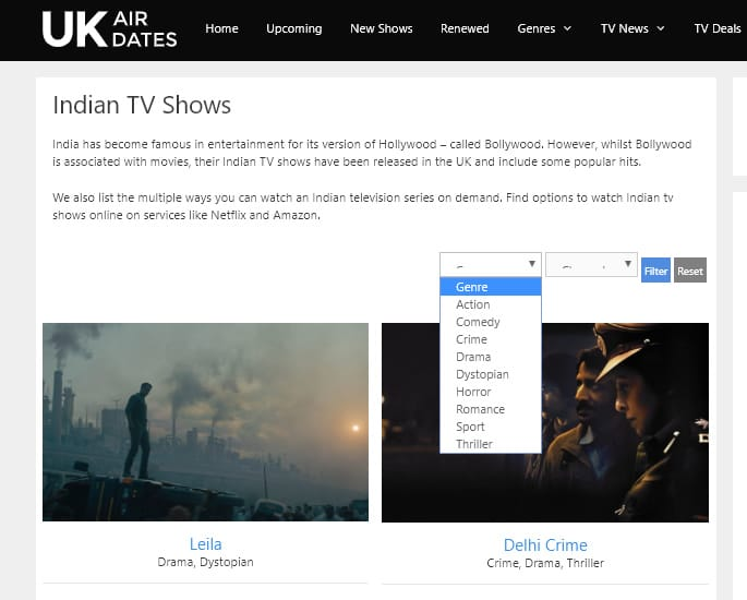 UKAirDates - a Time Saving Worldwide TV Guide - india
