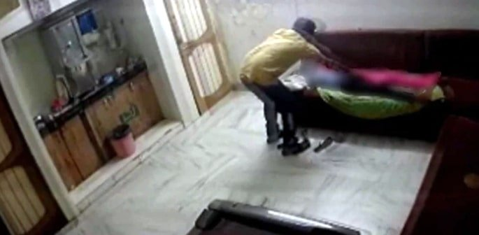 Indian Man molesting Guest in Flat caught on CCTV f