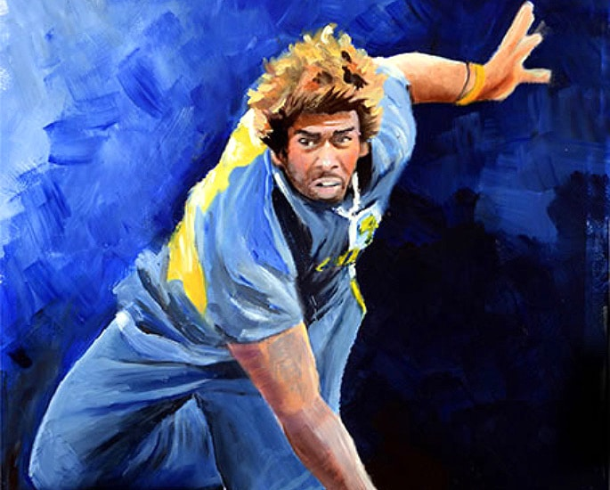 6 Best Paintings of Desi Cricket Players - Lasith Malinga 1