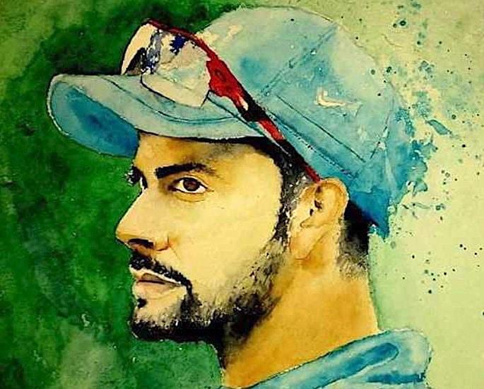 6 Best Paintings of Desi Cricket Players - Virat Kohli 1