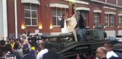 Big John's Groom arrives at Wedding on a Tank