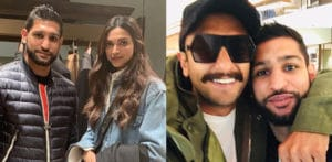Deepika and Ranveer pose with Boxer Amir Khan in London f