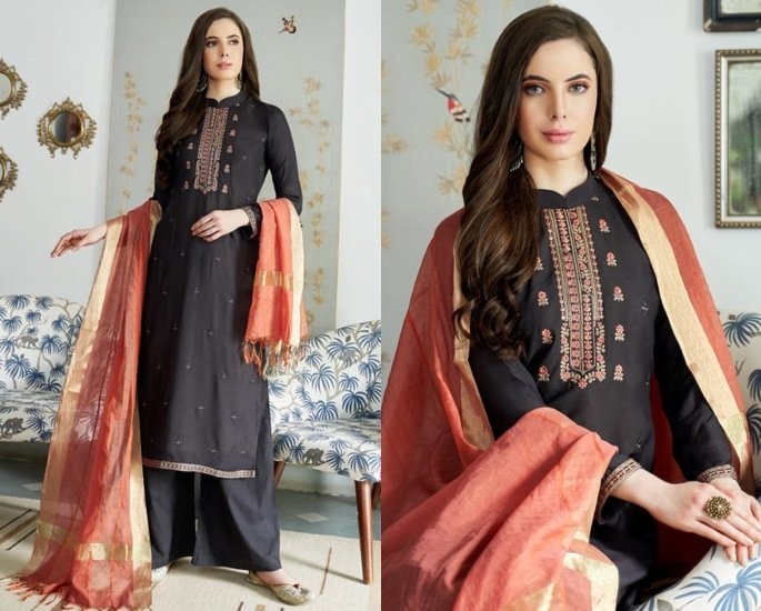 Beautiful Cotton Silk Salwar Kameez to Wear - Black and Orange