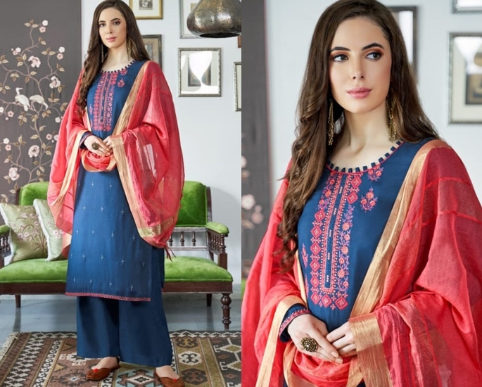 Beautiful Cotton Silk Salwar Kameez to Wear - Blue and Pink