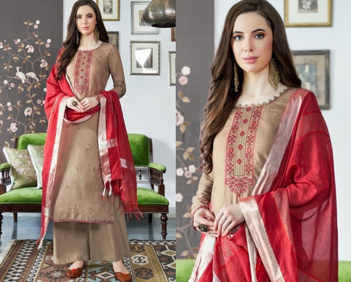 Beautiful Cotton Silk Salwar Kameez to Wear - Brown and Red