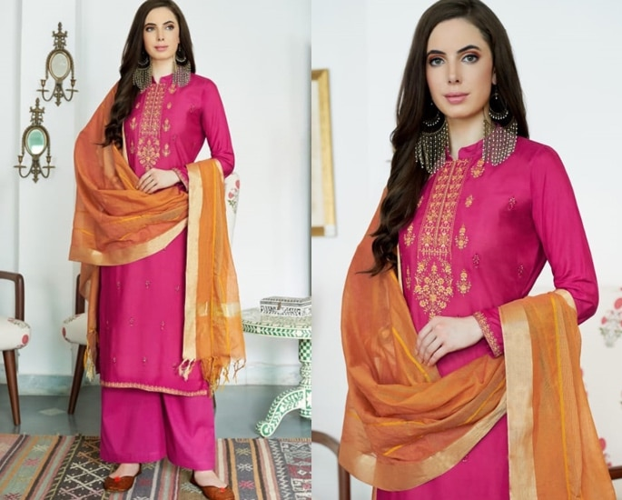 Beautiful Cotton Silk Salwar Kameez to Wear - Pink and Orange