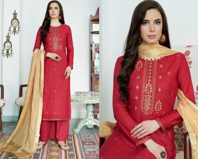 Beautiful Cotton Silk Salwar Kameez to Wear - red and gold