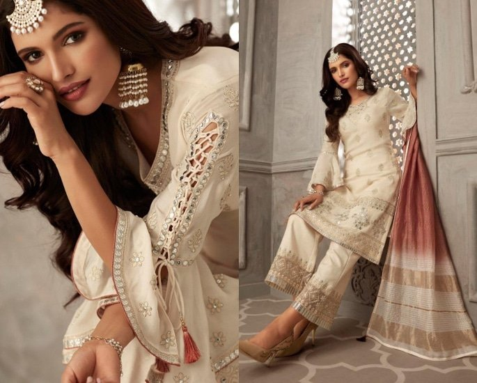 Petals Salwar Kameez Suits for a Lavish Look - cream and pink