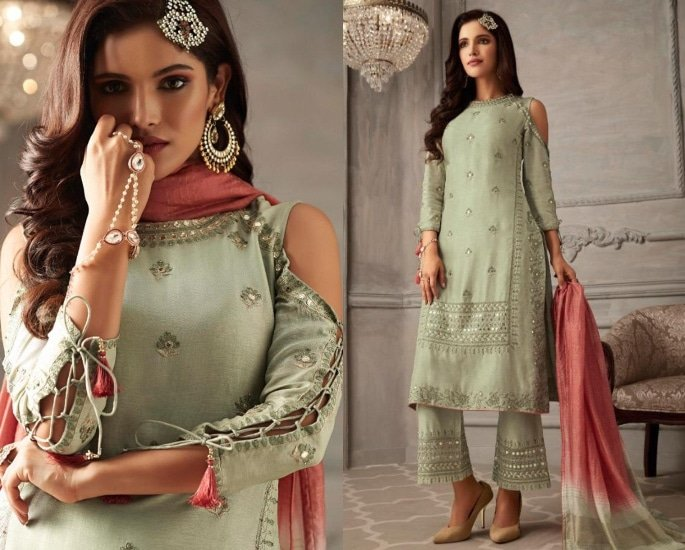 Petals Salwar Kameez Suits for a Lavish Look - mint and pink