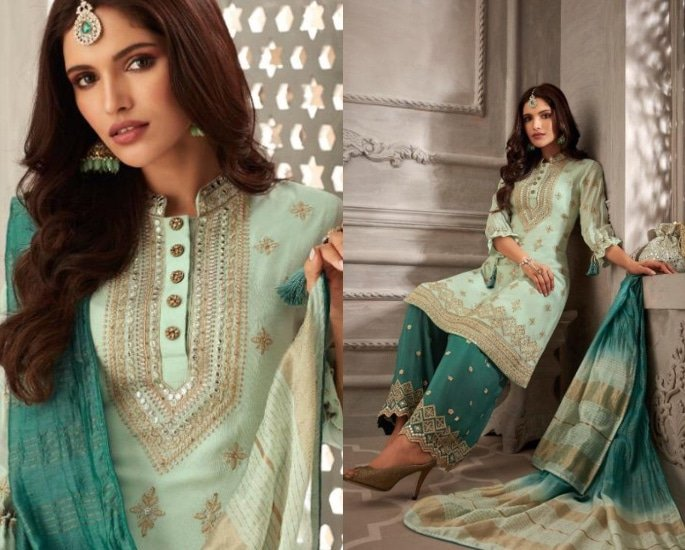 Petals Salwar Kameez Suits for a Lavish Look - mint and turquoise