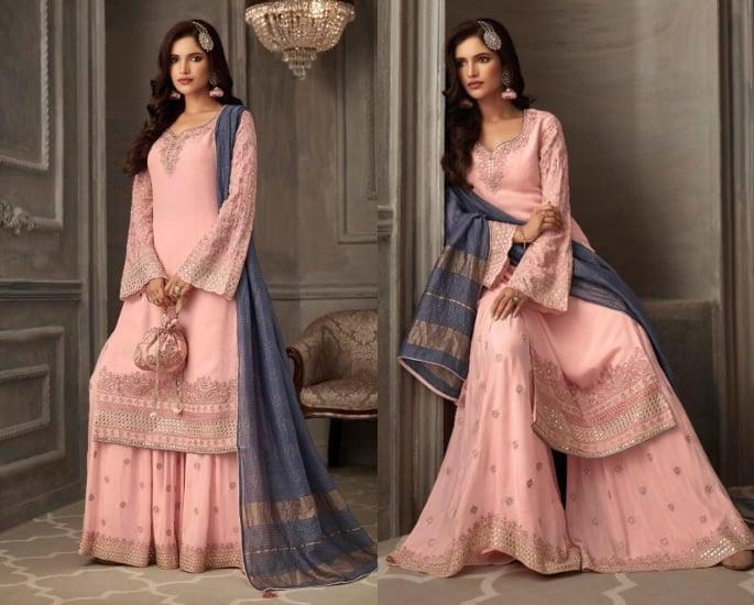 Petals Salwar Kameez Suits for a Lavish Look - pink and grey