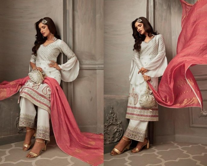 Petals Salwar Kameez Suits for a Lavish Look - white and pink