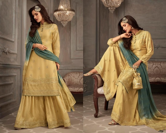 Petals Salwar Kameez Suits for a Lavish Look - yellow and green