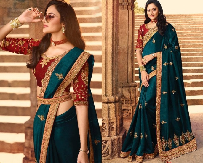 Heavy Silk Sarees for an Elegant and Stylish Look - green and red