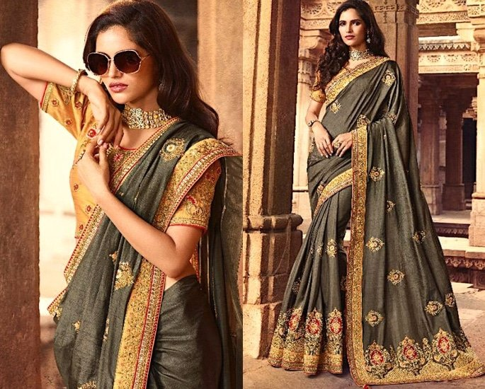 Heavy Silk Sarees for an Elegant and Stylish Look - grey and yellow