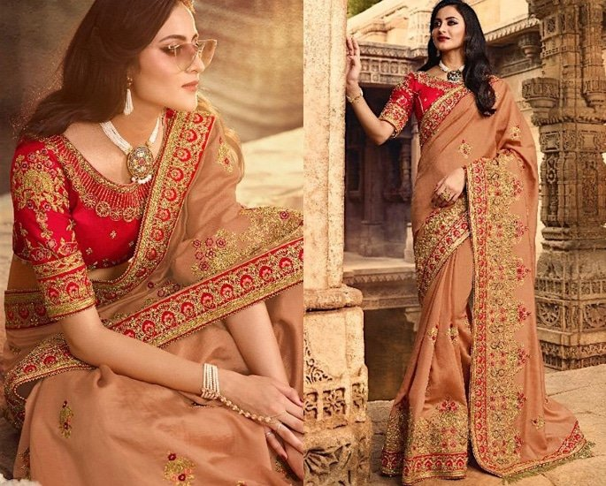 Heavy Silk Sarees for an Elegant and Stylish Look - orange and red