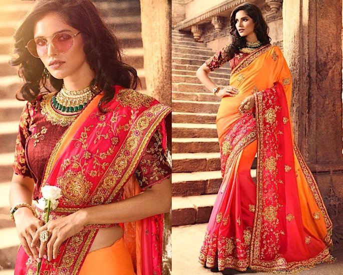 Heavy Silk Sarees for an Elegant and Stylish Look - pink and yellow
