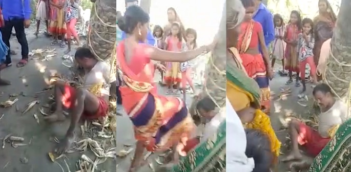 Indian Man tied to Tree & Beaten after Coming from Jail f