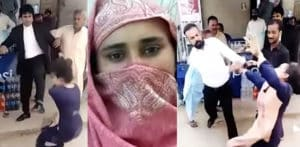 Pakistani Lawyers beat and kick Woman outside Court f
