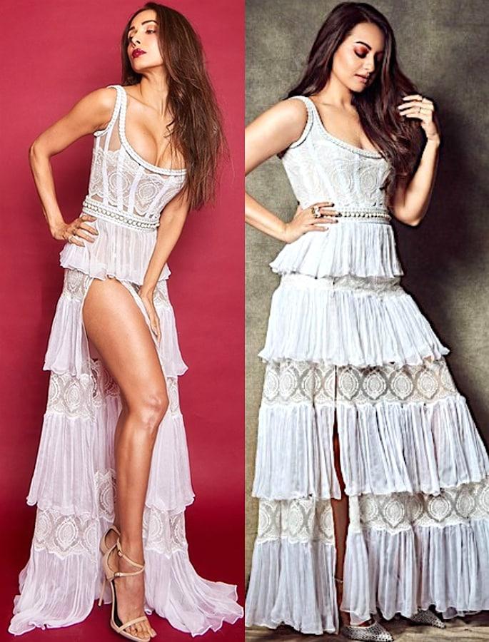 Sonakshi Sinha caught copying Malaika Arora's Dress - both