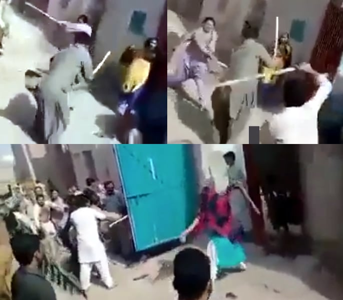 Violent Stick Fight erupts with Women and Men in Pakistan - street