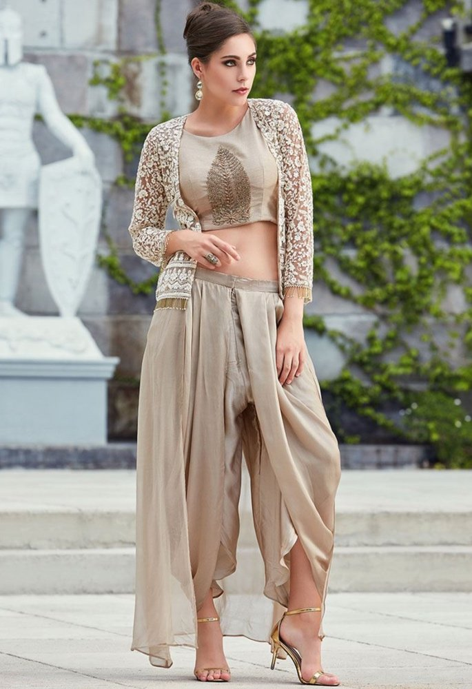 10 Stunning Dhoti Style Outfits to Wear - beige