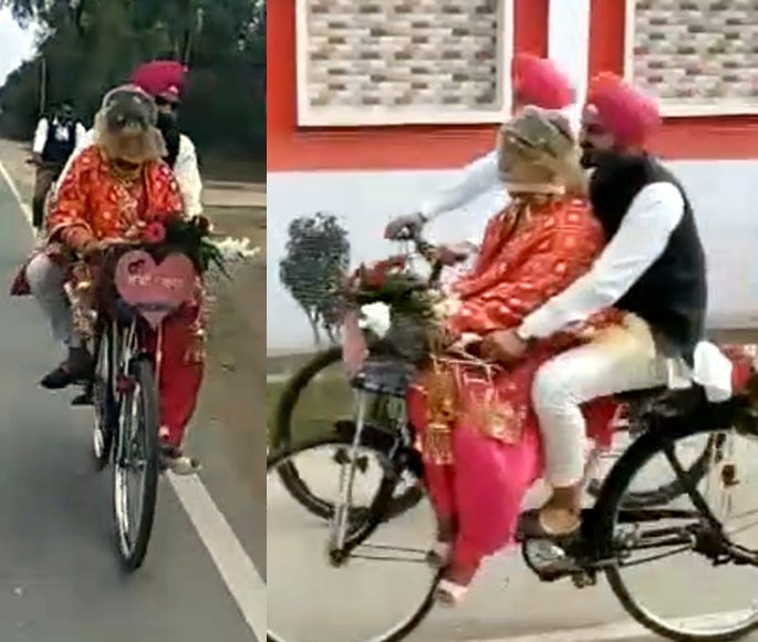 Indian Groom Picks Up His Bride on his Bicycle - pick up