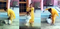 Indian Mother brutally Beating Little Daughter filmed by Father f