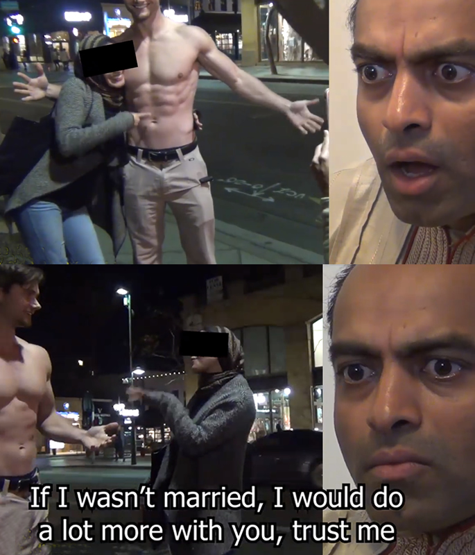 US Pakistani Man reacts badly to Wife flirting with Bodybuilder - reacts