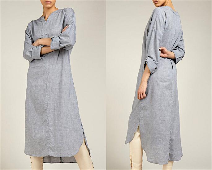 आधुनिक महिलाओं के लिए 7 मामूली ब्लाउज और शीर्ष डिजाइन - ग्रे अंगरखा