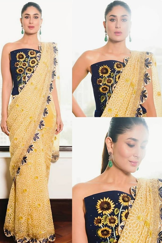 7 Stylish Looks of Kareena Kapoor in a Saree - floral queen