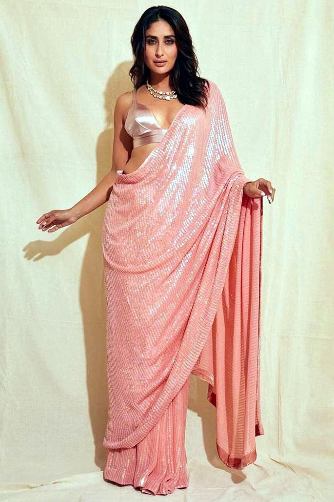 7 Stylish Looks of Kareena Kapoor in a Saree - light peach