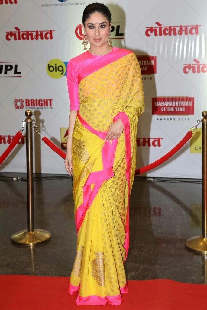 7 Stylish Looks of Kareena Kapoor in a Saree - piink yellow