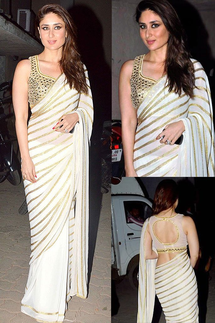7 Stylish Looks of Kareena Kapoor in a Saree - stripes