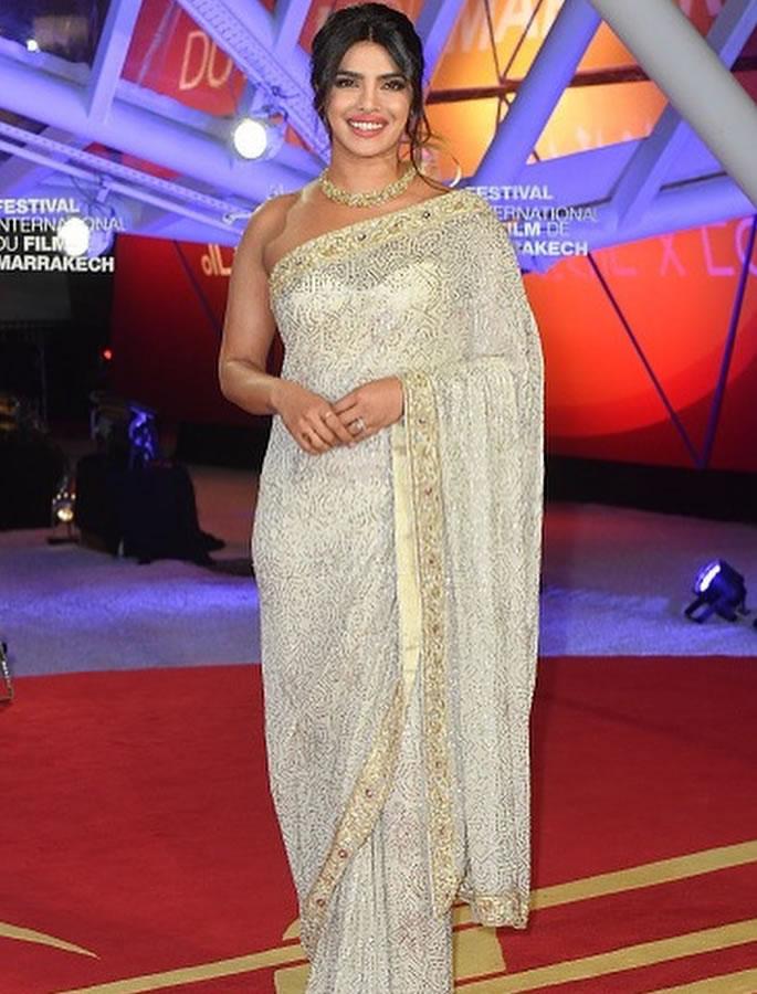 Priyanka Chopra is Honored at Marrakech Film Festival - saree